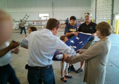 Folding a Large US Flag